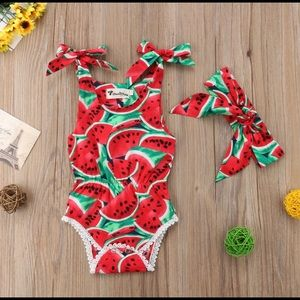 Other - Baby Girl Watermelon Onesie Outfit Set